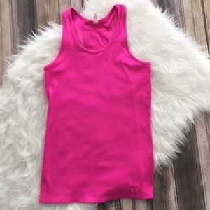 Under armor hot pink fitted tank. Pink workout top